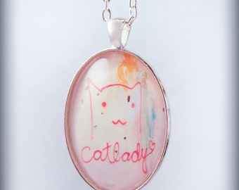 Cat Lady Graffiti Photograph Pendant silver On Chain Necklace Original Handmade