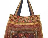 Handbag Flat Strap Hill Tribe Embroidered Fabric Thailand Handmade (BG121F-ODIA)