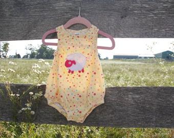 18 months Lamb Polka Dot Onesie Applique with Ruffles
