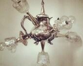 Sputnik Teapot 6- Light Chandelier- Upcycled/ Recycled Vintage Silver plated Teapot Candlesticks