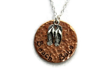 Beach Babe Hand Stamped Copper Pendant with Flip Flops Charm, Beach Jewelry, Flip Flop Jewelry, Hammered Copper Pendant