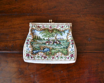 Petit Point Tapestry Purse w/ Strap - 40s, needlepoint, floral, countryside, cream, snake chain, made in Hong Kong