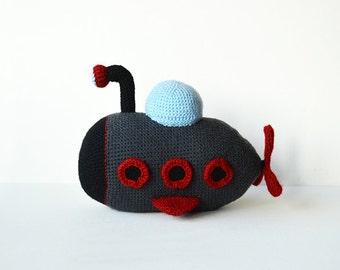 Submarine Crochet Pattern - Amigurumi Crochet Pattern - DIY Submarine Toy - Yellow Submarine - Crochet Toy - Nautical Toy CROCHET PATTERN