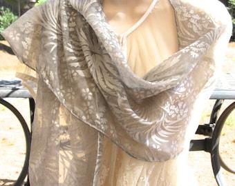 Silk Shawl Silver