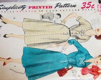 "Vintage 1950s Simplicity Misses' Dress Pattern 1356 Size 16 1/2 (35"" Bust)"