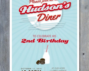"""RETRO Diner Party Invitation for Birthday - Personalized 7""""x5"""" Printable File You Print Yourself"""