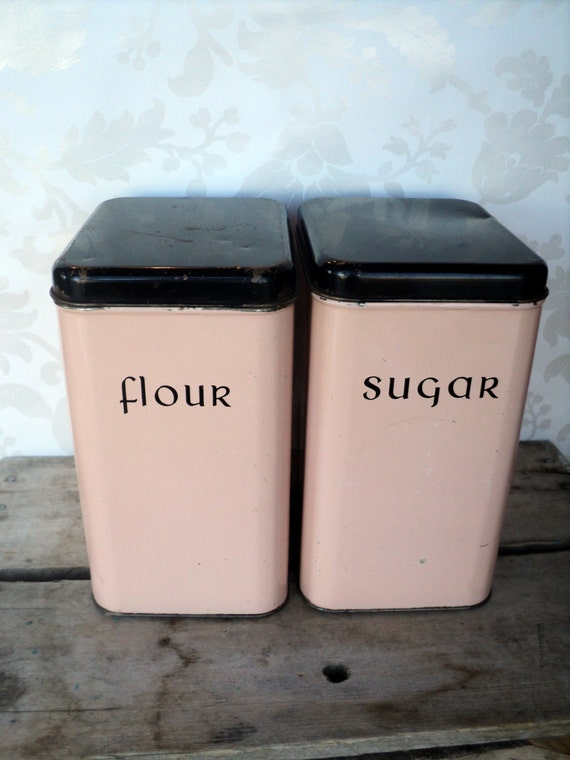 pink canisters kitchen flour and sugar canister pink and black 1950 s kitchen 14554
