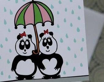 Strong Friendship - Panda Greeting Card