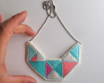 Embroidered necklace geometric small bib triangles in beautiful colors of mint greens and pinks bold design