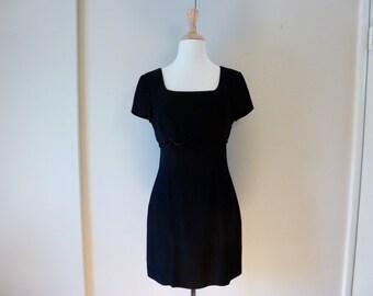 90's Nanette Lepore Robespierre Scalloped Crop Top Little Black Mini Cocktail Dress M