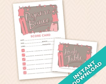 Downloadable  Pajama Party Printable Bunco Scorecard and Table Marker Set (a.k.a. Bunko, score card, score sheet)