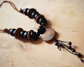 Primitive Jewelry, Wood and Ceramic Beaded Necklace, Rustic Necklace Jewelry Earthy African Safari