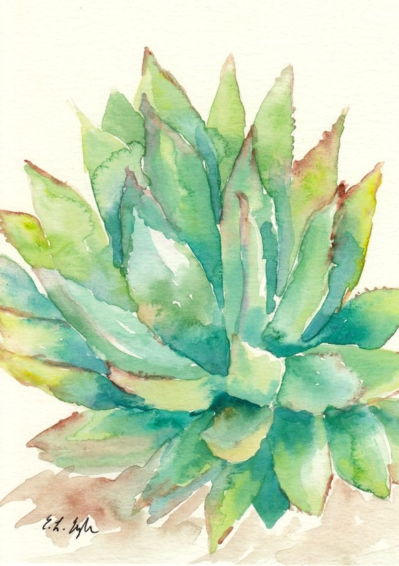 Watercolor Cactus, original painting, 5x7, green, sage, yellow, turquoise, teal, succulent, cactus art, plant, western, desert