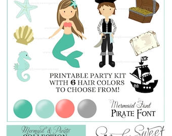 Pirate and Mermaid Birthday Party Package Printable PDF files. Teal aqua coral and grey. Includes hair of choice