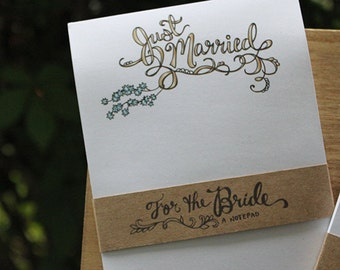 Just Married Notepad - wedding notepad - engagement gift - bridal shower