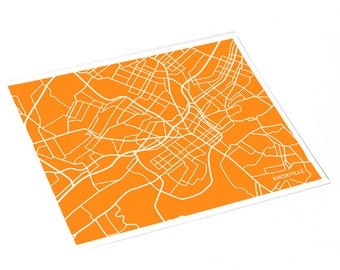 Knoxville City Map Art Print / UT University of Tennessee Vols Grad Gift Dorm Decor / 8x10 Digital Print / Choose your color