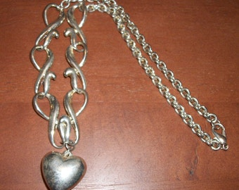 Silver Puffy Heart Necklace