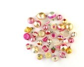 Vintage Christmas Ornaments - Pink and Gold - Jewel Tone Christmas - Christmas Decorations - Set of 37