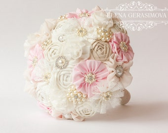 Brooch Bouquet. Ivory baby pink Fabric Bouquet, Vintage Bouquet, Rustic Bouquet, Unique Wedding Bridal Bouquet