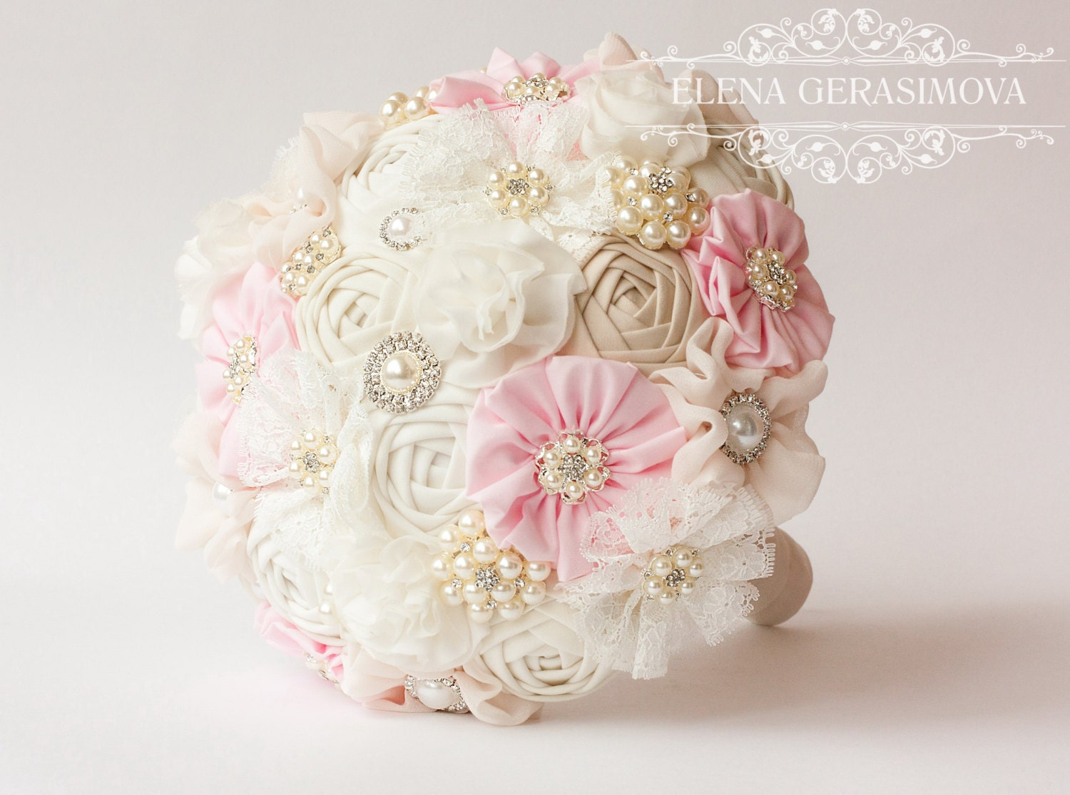 Brooch Bouquet Ivory Baby Pink Fabric Bouquet Vintage