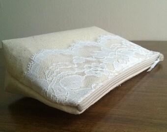 Clutch, Clutches, Lace Clutch, Linen Clutch Purse, Fall Wedding Accessory, Bridal Clutch