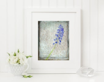 Flower Still Life, Shabby Chic Art, Button Photography, 8x10 Wall Art,  White and Blue Picture, Rustic Summer Artwork
