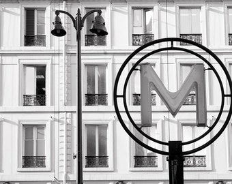 Paris Fine Art Photograph -  Hotel de Ville Station Metro Sign, Black and White Photograph, French Home Decor, Large Wall Art