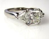 Reserved....2.30ct Estate Vintage Radiant Cut Diamond EGL USA 3 stone Engagement Wedding Anniversary Ring in Platinum