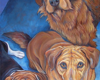 """30"""" x 40"""" Custom Pet Portrait Painting in Acrylic on Canvas of Three Dogs, Cats, Animals Large OOAK Animal Lover Artwork Ready to Hang"""