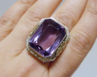 Museum Quality 14k 25ct Amethyst & Seed Pearl Filigree Art Deco / Art Nouveau  Ring - BREATHTAKING - Free USA Shipping!
