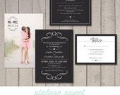 Modern Wedding Invitation, RSVP, Details Card (Printable) by Vintage Sweet