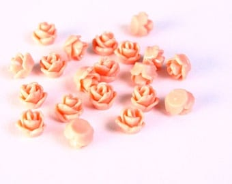 20 salmon resin tiny small rosebud rose flower cab cabochon 7.5mm 20pc (1412) - Flat rate shipping
