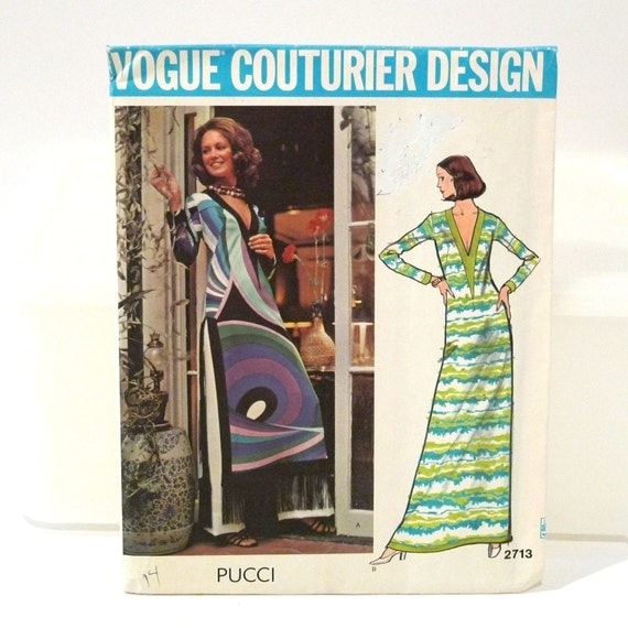 Pucci Sewing Pattern FF Emilio Pucci uncut Maxi Dress Pants Vogue 2713 Size 14 Bust 36 authentic couturier design italy Free usa shipping