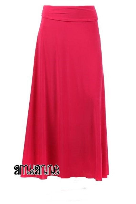 Perfect Women S Solid Fuschia Hot Pink Knit Maxi Skirt