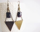 Paihia earrings, triangle and amethyst bead