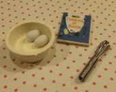 Miniature Mixing Bowl - Whisk - Cook Book - Eggs / Tiny Baking Set / Doll House Supplies / Miniature Kitchen / Craft Supplies / mixed media