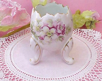 Beautiful Little Egg Shaped  Porcelain Vase Hand Painted with Wild Roses