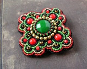 Beadwork Brooch Red Green Gold Black Brooch Bead embroidered Brooch Cabochon Brooch Bead embroidery jewelry Boho Ethnic Baroque - MisPearlBerry
