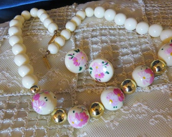 Vintage Hand Painted Pink Flower Floral White Beaded Necklace Earrings Mad Men Style 60s Jewelry set