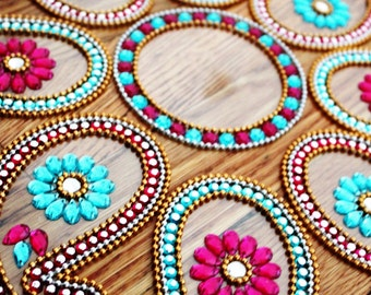 Indian wedding paisely table decor - Diwali Rangoli- Keri in pink and blue