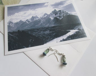 Handmade earrings, with  photo picture card, Grand Teton National park, Wyoming. FREE SHIPPING USA