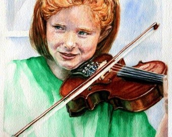 "Original Watercolor Painting: Redheaded Girl playing violin ""Young Irish Fiddler"""