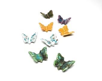 Vintage Butterflies Ceramic Glazed Green Purple Yellow