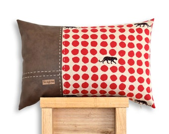 Panther 3 Panel Cushion Cover in Red. Echino Panther cotton & soft faux lamb leather panels.