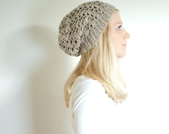 the SUMTER hat - Slouchy hat beanie crocheted - natural mix - wool