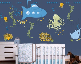 Submarine Wall Decal with Ocean Animals, Under the Sea Nursery Wall Decal for Baby, Kids or Childrens Room 037