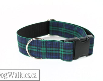 "Green Edge Black Watch Tartan Dog Collar - 1.5"" (38mm) Wide - Navy and Green Plaid - Side Release or Martingale - Choice of Size and Style"