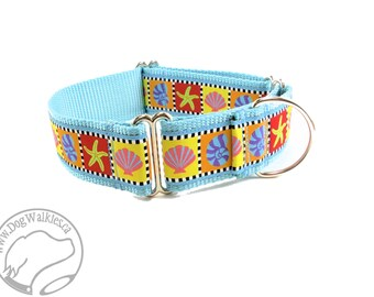 "SALE Sea Side Treasures Wide Dog Collar - 1.5"" (38mm) wide - Side Quick Release or Martingale Dog Collar - Choice of collar style and size"
