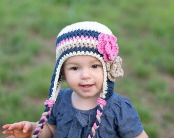 baby hat, little girls hat, baby girl hat, crochet hat, earflap hat, kids hat, hat with flowers, blue and pink hat, navy blue pink tan hat