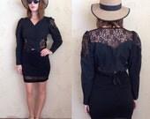 black cotton & lace long sleeved peek-a-boo crop top